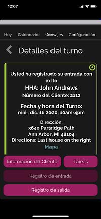 Screenshot of Spanish Caregiver Mobile App