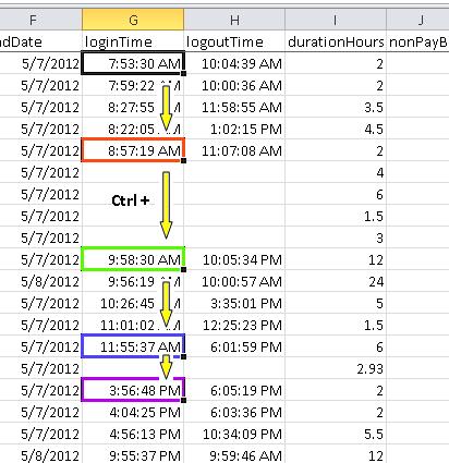 Screenshot of spreadsheet selections