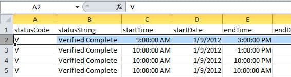 Screenshot of spreadsheet layout