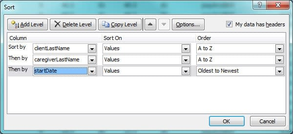 Screenshot of multiple sort