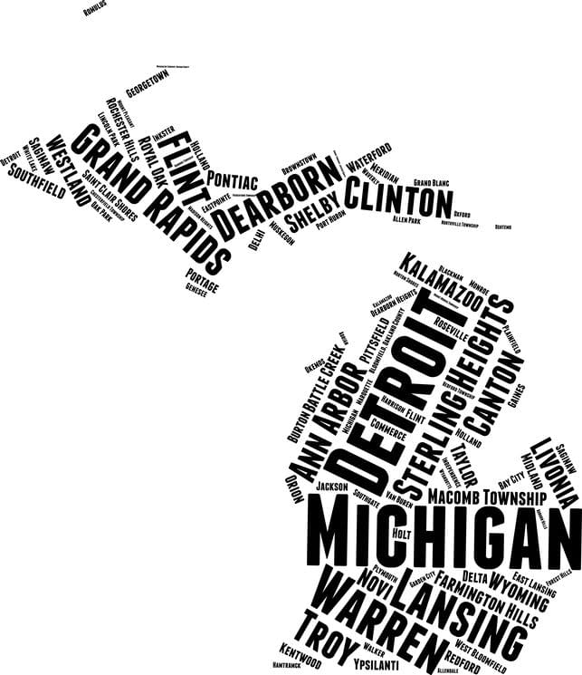 Map of Michigan with city/town names