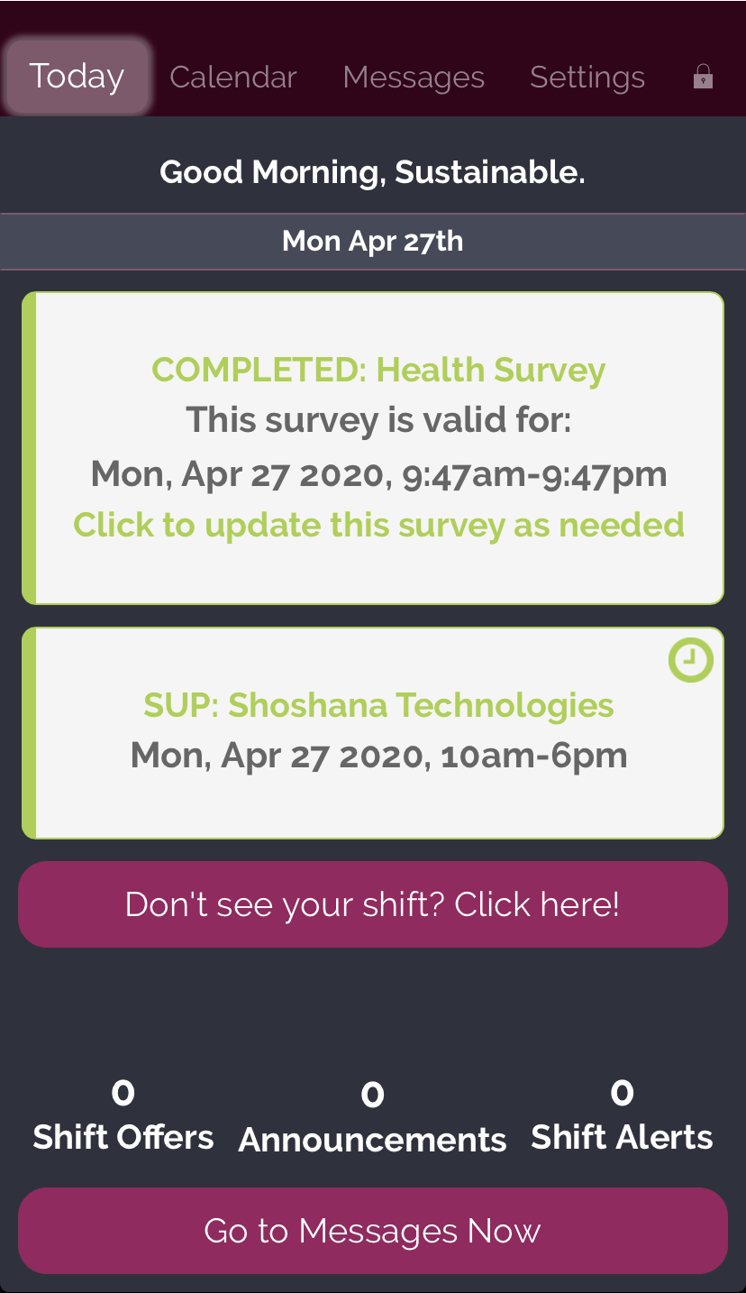 Screenshot of Completed Survey