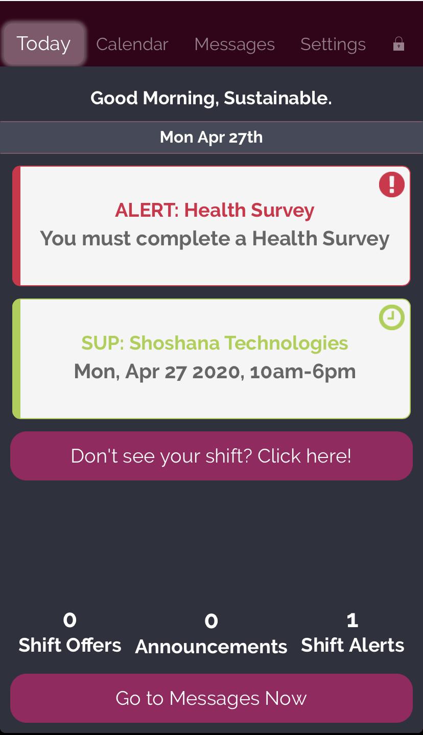 Alert Health Survey screenshot